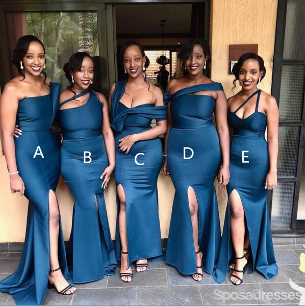 Navy Mismatched Mermaid Side Slit Long Cheap Bridesmaid Dresses Online, WG639