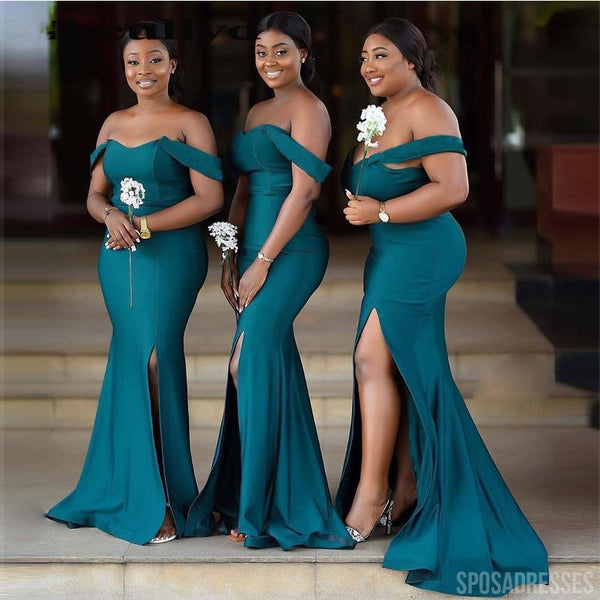 Off Shoulder Teal Mermaid Cheap Bridesmaid Dresses Online, WG781