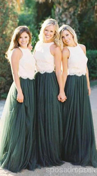 Lace Bodice Green Tulle A Line Custom Bridesmaid Dresses, BD122