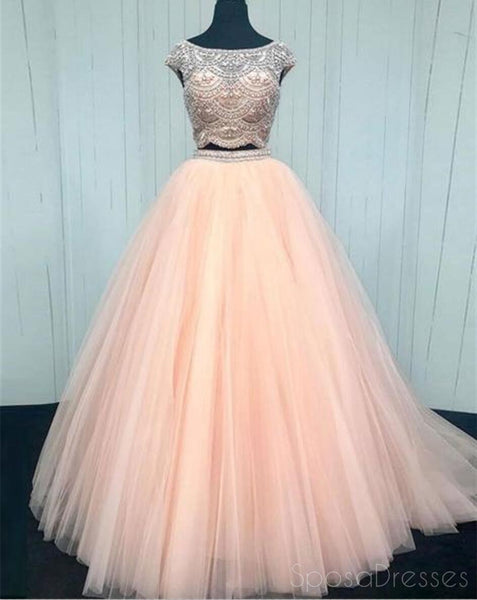 Sexy Two Pieces Cap Sleeve Blush Pink Long Evening Prom Dresses, 17343