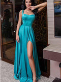 Straps Turquoise Side Slit Simple Long Evening Prom Dresses, Cheap Custom Sweet 16 Dresses, 18464