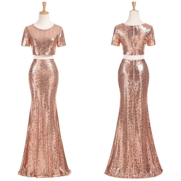 Sexy Two Pieces Short Sleeve Cheap Gold Sequin Long Bridesmaid Dresses, BD1111