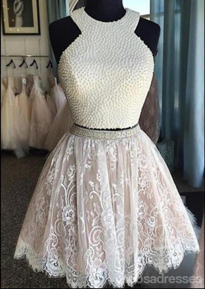 Long Sleeve White Open back Lace Cute Homecoming Prom Dresses, Affordable Short Party Prom Dresses, Perfect Homecoming Dresses, CM315
