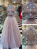 Two Pieces Halter Evening Prom Dresses, Sexy A line Tulle Open Back Prom Dresses 17010