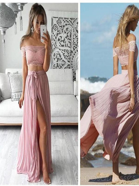 Two Pieces Prom Dress,Off Shoulder Prom Dress,Side Silt Prom Dress,Sexy Prom Dress, PD0050