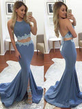 Sexy Two Pieces Mermaid Evening Prom Dresses, Long Backless Blue Party Prom Dresses, 17073