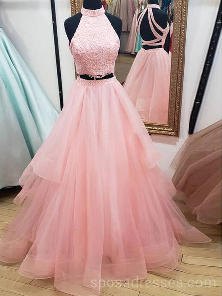 Two Pieces Blush Pink Lace Long Evening Prom Dresses, Cheap Custom Party Prom Dresses, 18609