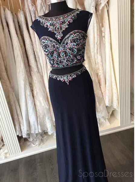 Two Pieces Open Back Navy Beaded Mermaid Long Evening Prom Dresses, 17663