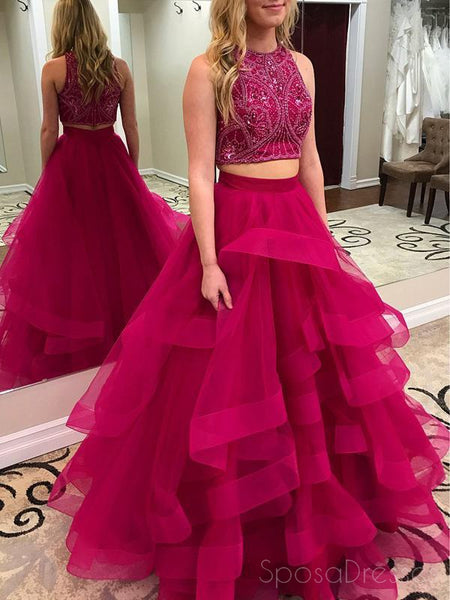 Two Pieces Heavily Beaded Ruffle Hot Pink A line Long Evening Prom Dresses, 17654