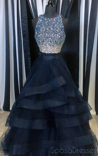 Two Pieces Navy Blue Beaded A-line Long Evening Prom Dresses, 17622