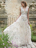 V-Neck Flower Cheap Wedding Dresses Online, Cheap Unique Bridal Dresses, WD602