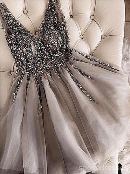 V Neck Grey Heavily Beaded Rhinestone Short Homecoming Dresses Online, CM672