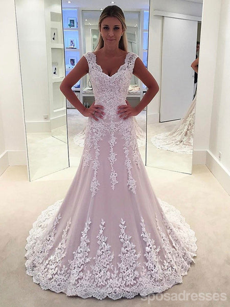 Lace Strapless A-line See Through Cheap Wedding Dresses Online, WD339