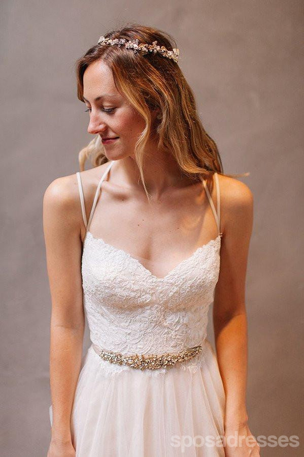 Simple Long A-Line Backless Wedding Dresses, Tulle Wedding Party ...