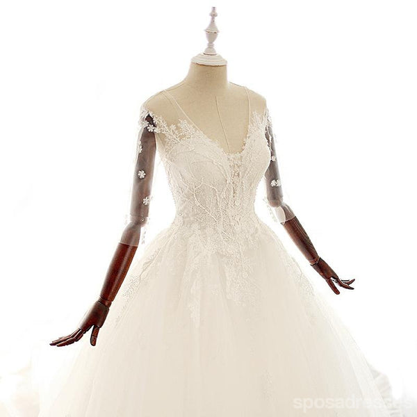 Long Sleeve V Neck Lace Long Cheap Custom Wedding Dresses, WD295