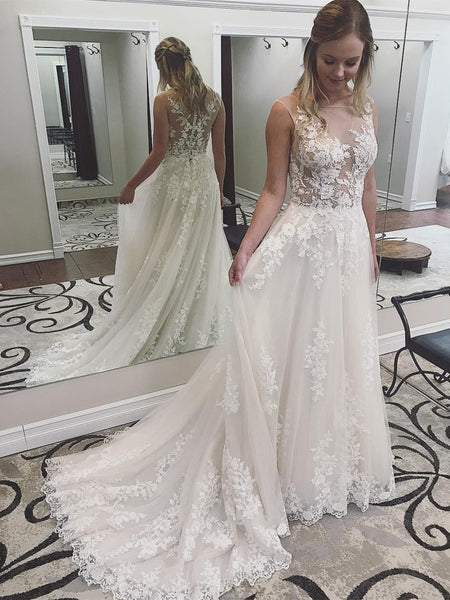 See Through Wedding Dresses.Lace See Through Cheap Wedding Dresses Bateau A Line Bridal Dresses Wd433