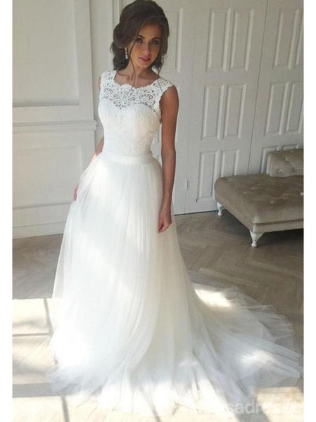 Illusion Lace A-line Cheap Wedding Dresses Online, Cheap Lace Bridal Dresses, WD440