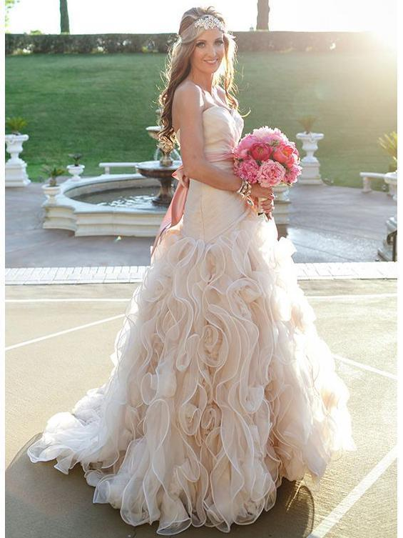 Strapless Champagne Cheap Wedding Dresses Online, Ruffle A-line Bridal Dresses, WD443