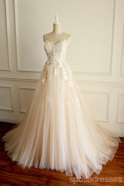 Spaghetti Strapls A-line Long  Custom Cheap Wedding Bridal Dresses, WD296