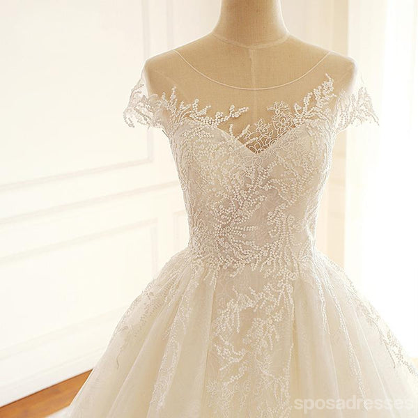 Cap Sleeve Scoop A-line Long Custom Cheap Wedding Bridal Dresses, WD297