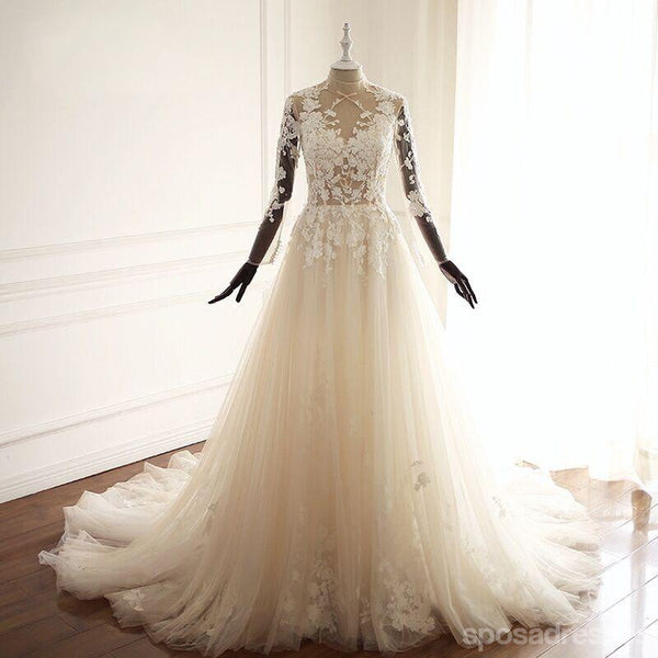 High Neck See Through A-line Lace Long Custom Cheap Wedding Bridal Dresses, WD298