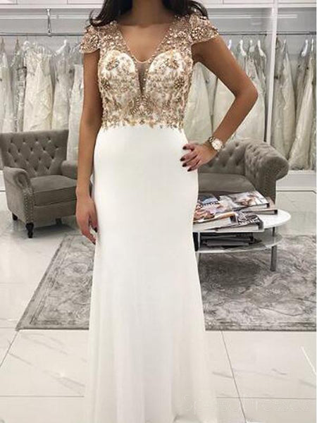 Sexy Open Back Cap Sleeve Gold Beaded Mermaid Long Custom Evening Prom Dresses, 17449