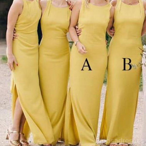 Yellow Side Slit Mermaid Long Cheap Custom Bridesmaid Dresses Online, WG272