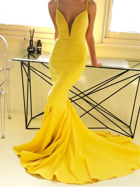 Spaghetti Straps Yellow Mermaid Cheap Long Evening Prom Dresses, Party Prom Dresses, 18617