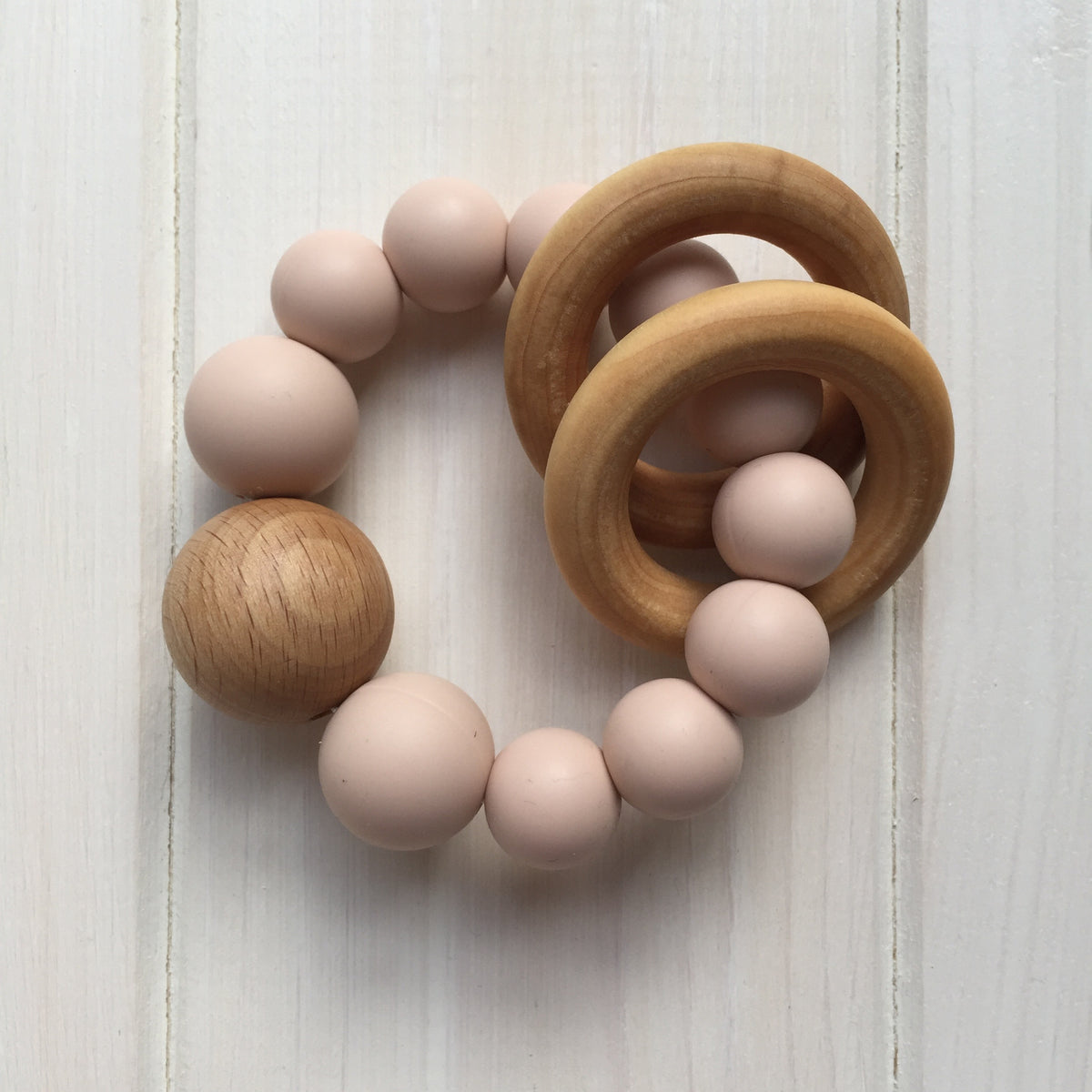Blush Silicone Teething Rattle