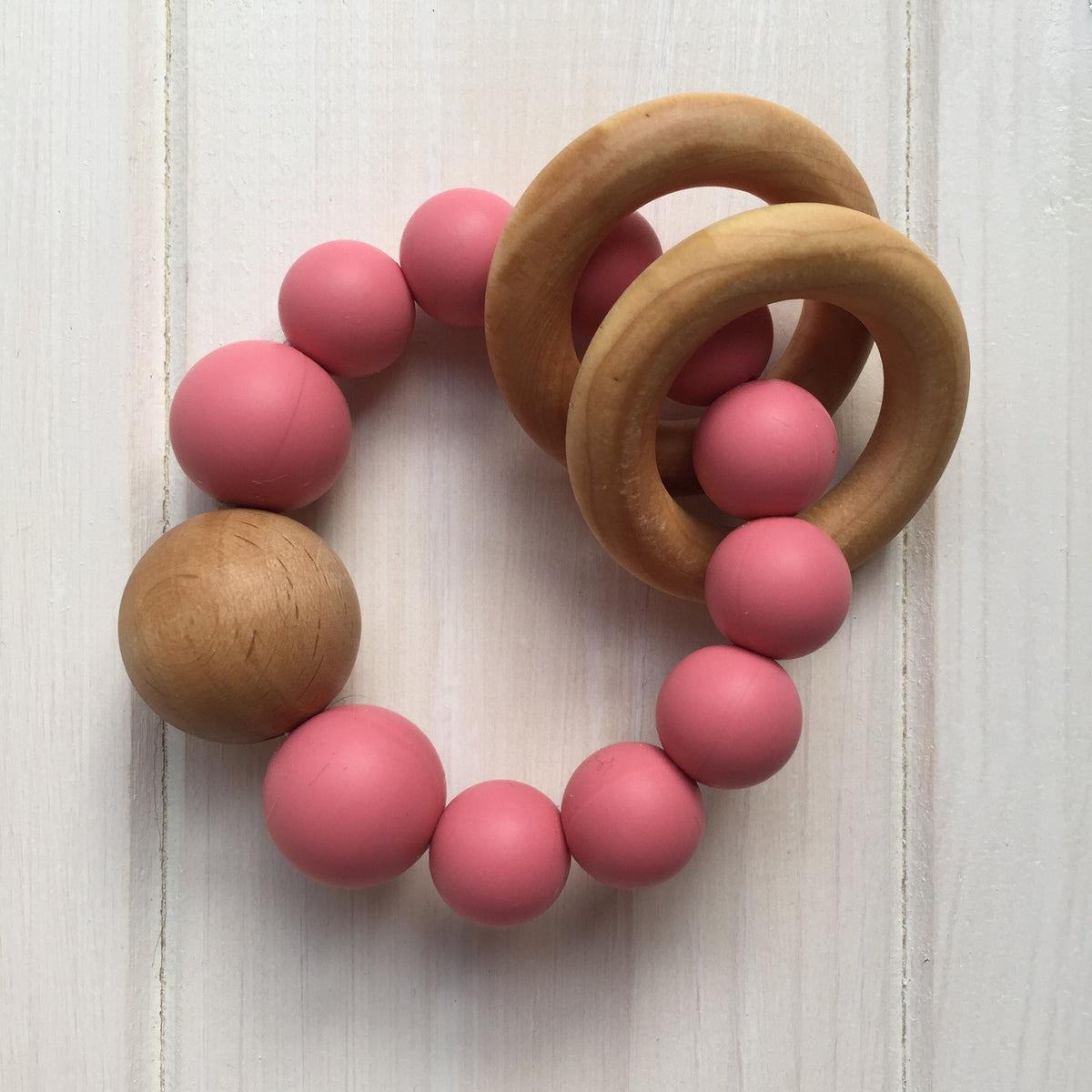Strawberry Pink Silicone Teething Rattle