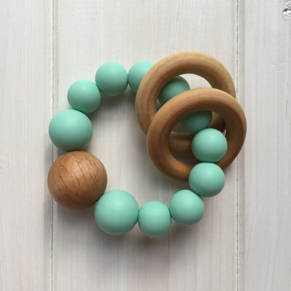 Mint Silicone Teething Rattle