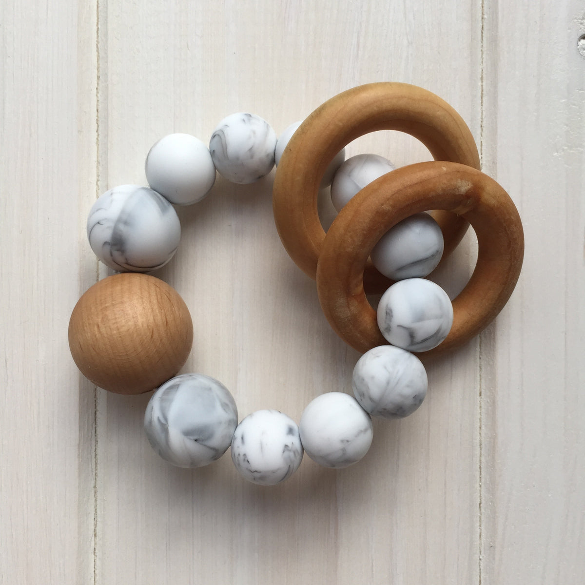 Marble Silicone Teething Rattle