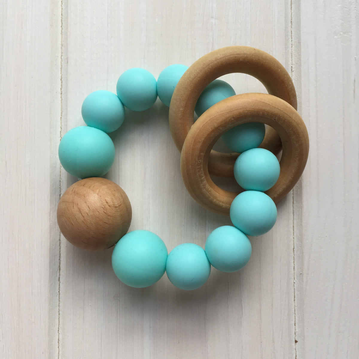 Robin's Egg Blue Silicone Teething Rattle