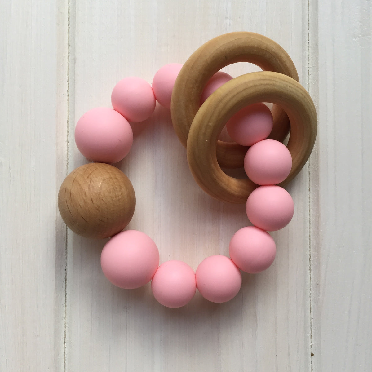 Pink Silicone Teething Rattle
