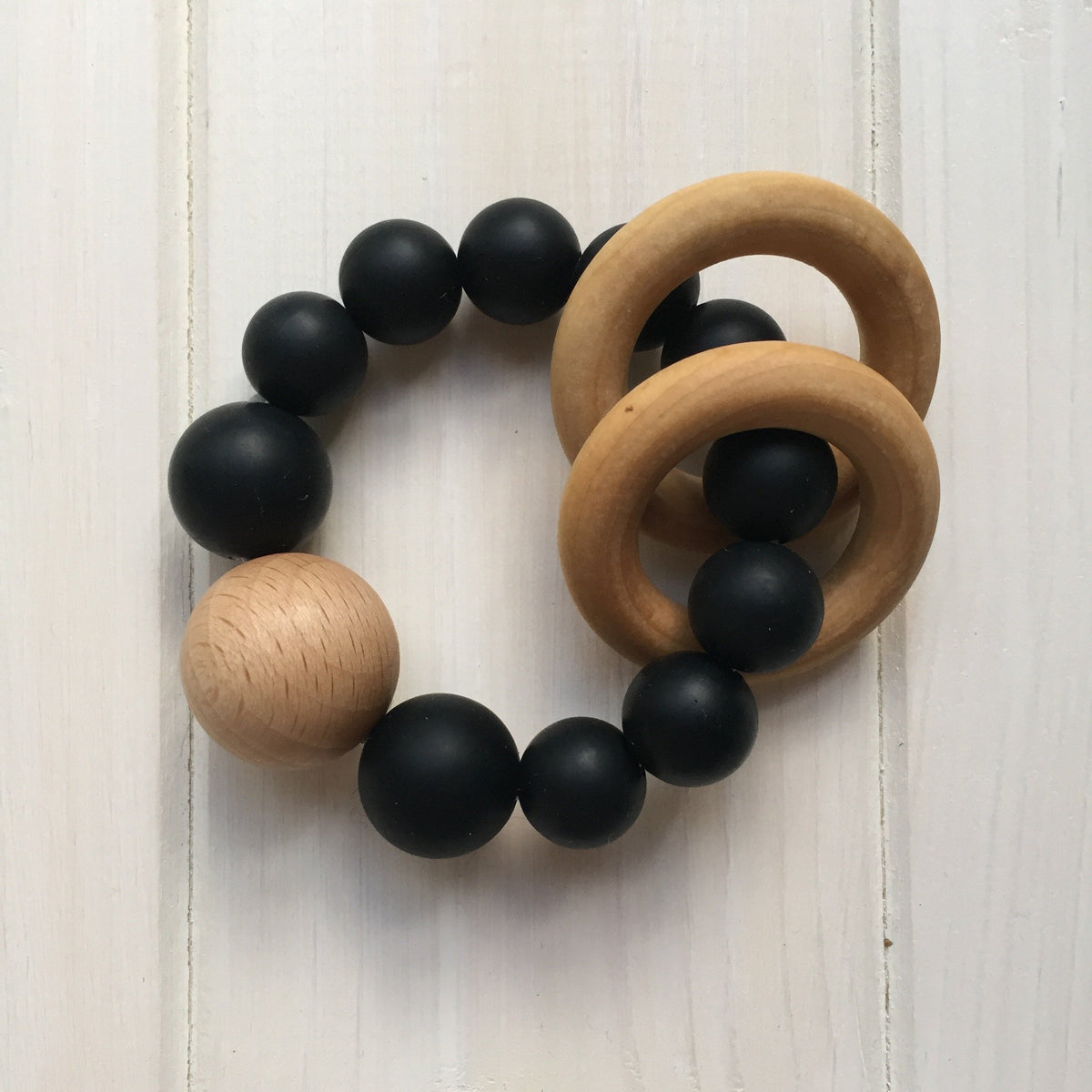 Black Silicone Teething Rattle