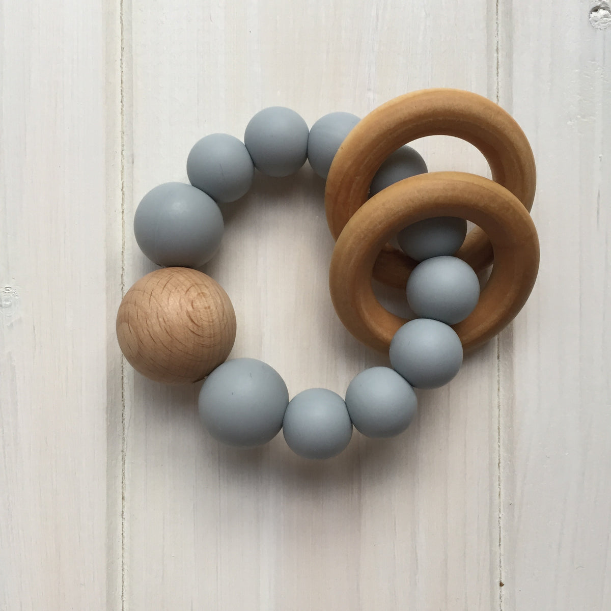 Gray Silicone Teething Rattle