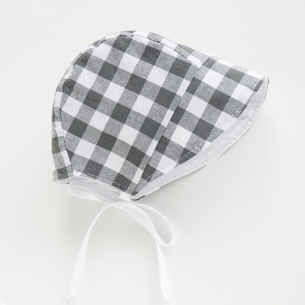 READY TO SHIP Gray Gingham Bonnet with Sun Brim