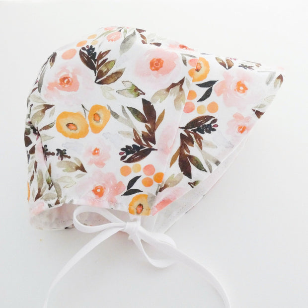 READY TO SHIP Blush Blossom Bonnet with Sun Brim