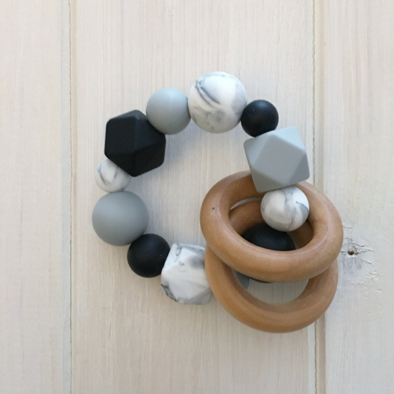 Monochrome Marble Silicone Teething Rattle