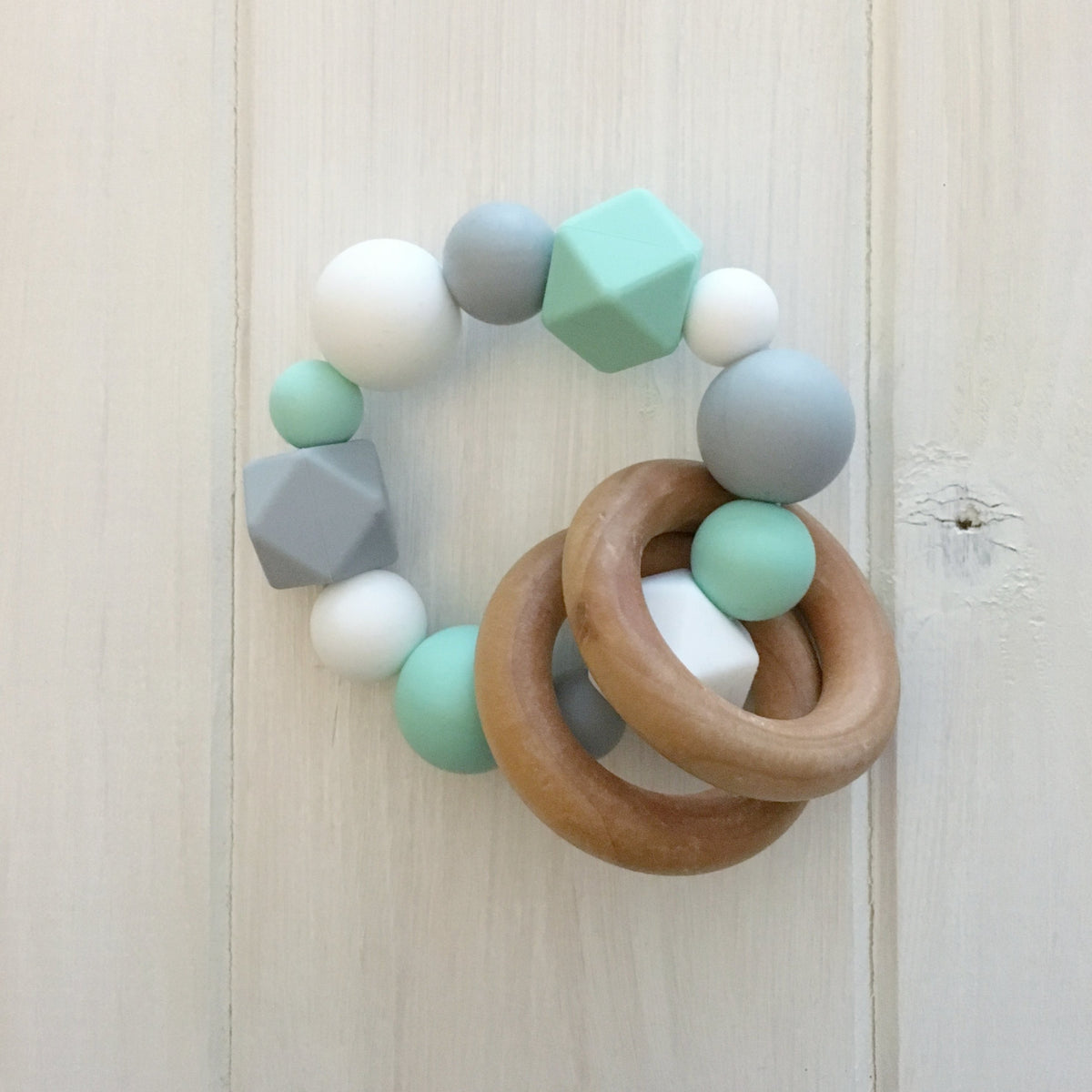 Mint Neutral Silicone Teething Rattle
