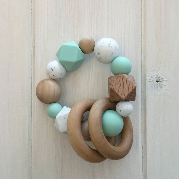 Mint Julep Silicone Teething Rattle
