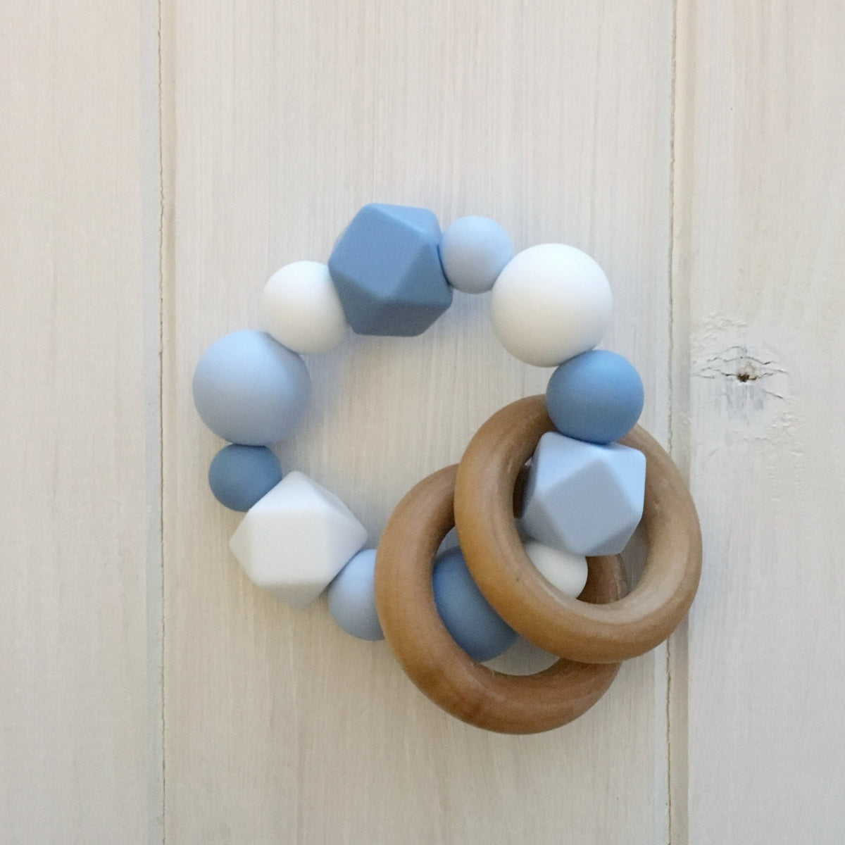 Nautical Blue Silicone Teething Rattle