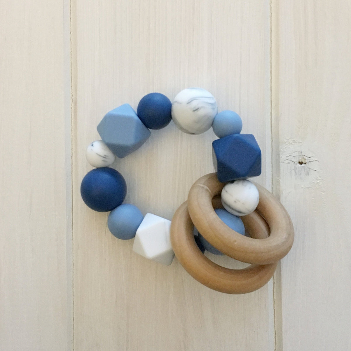 Blue Marble Silicone Teething Rattle
