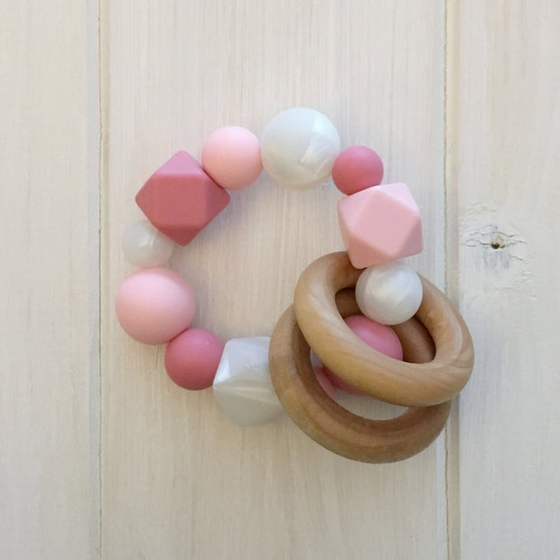 Think Pink! Silicone Teething Rattle