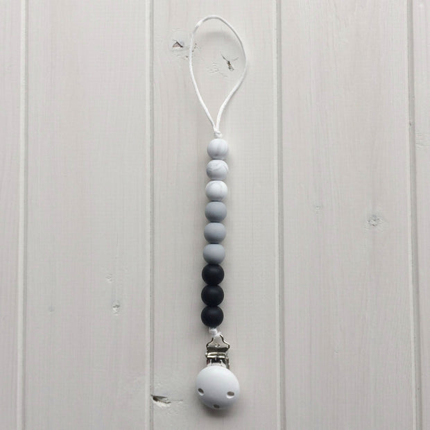 Monochrome Marble Silicone Soother Clip