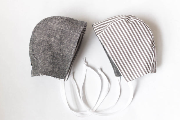 READY TO SHIP Double Sided Gray and Striped Bonnet