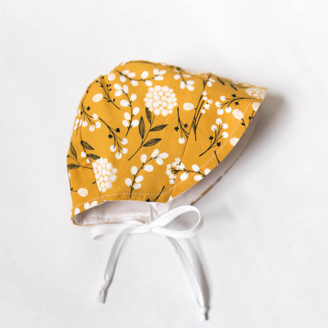 READY TO SHIP Mustard Floral Bonnet with Sun Brim
