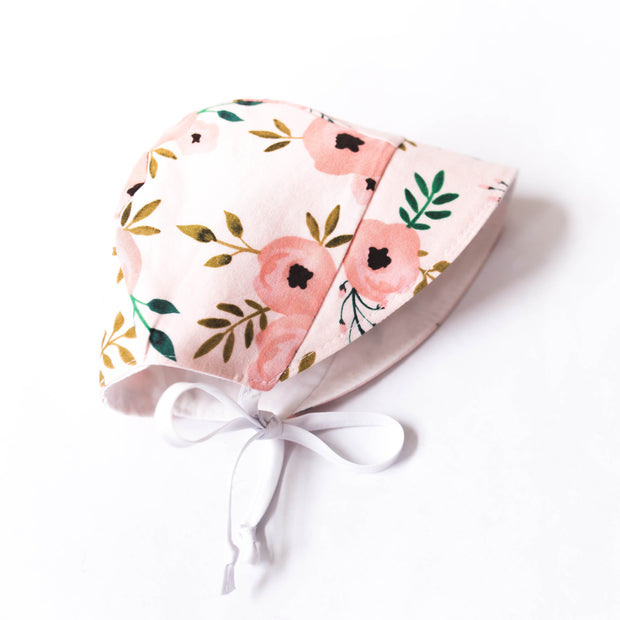 READY TO SHIP Pink Floral Bonnet with Sun Brim