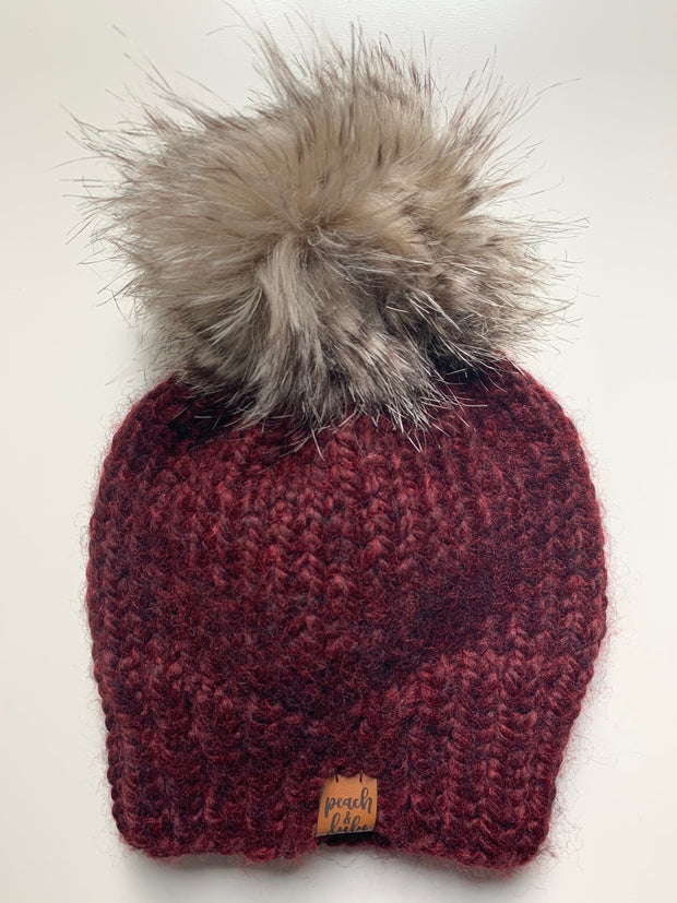 READY TO SHIP Solid Burgundy Toque with Tan Pom