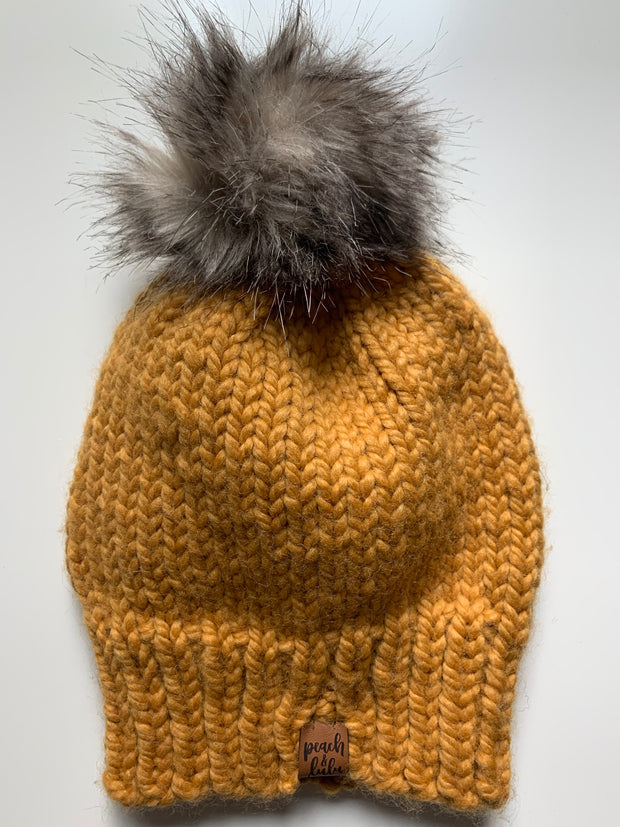 READY TO SHIP Solid Mustard Toque with Tan Pom